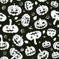 Seamless pattern of white silhouettes of pumpkins and leaves, doodles on a black background. Halloween pattern. Vector illustration. Design for paper products, textiles, printing, banners