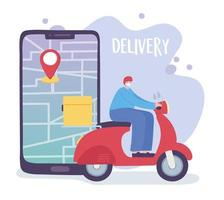 online delivery service, man in moped smartphone tracking, fast and free transport, order shipping, app website vector