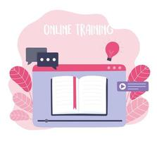 online training, ebook specialization tutorials, courses knowledge development using internet vector