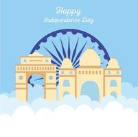 happy independence day india, famous temple landmark and wheel vector