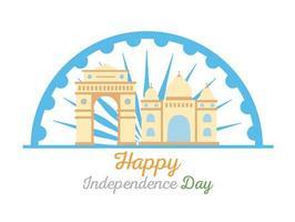 feliz día de la independencia de la india, puerta y taj mahal emblemático país famoso vector