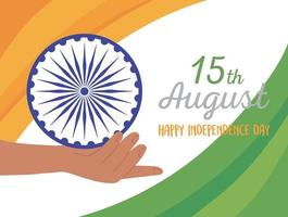 happy independence day india, hand holding wheel flag background vector