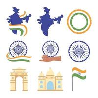 happy independence day india, map flag landmark famous monuments wheel icons set vector