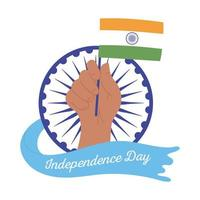happy independence day india, raised hand with flag and wheel design vector