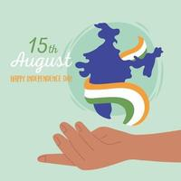 happy independence day india, hand with map and flag national vector