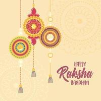 raksha bandhan, mandalas traditional bracelet of love brothers and sisters indian festival vector