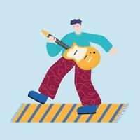 people activities, young man playing electric guitar instrument music vector