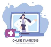 online doctor, laptop screen with female therapist on chat medical advice or consultation service vector