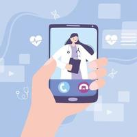online doctor, hand holds a smartphone with an online clinic app medical advice or consultation service vector