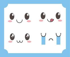 kawaii lovely adorable eyes mouths facial expressions vector