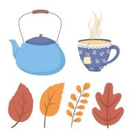 coffee time and tea, blue tea pot and cup with leaves icons vector