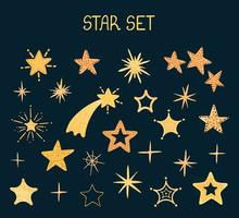 Vector colorful modern set with hand draw llustrations of star shape, stickers. Use it for your design for greeting cards, nursery, poster, card, birthday party, packaging paper design, baby t-shirts prints
