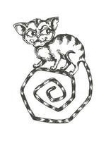 vector, ilustración, en blanco y negro, de, complicado, gato, ambulante, en la cola vector