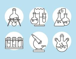 chemical glassware flasks experiment reactions science line style vector