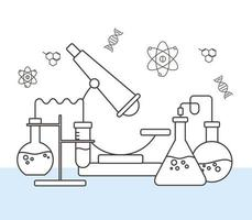 chemistry science laboratory experiment flasks microscope, line style vector