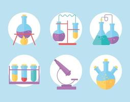 chemical glassware flasks experiment reactions science flat style vector