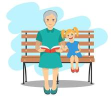 Grandma sitting on a bench with granddaughter reading the book. Rest and outdoor quiet time. Vector illustration.