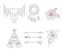 boho and tribal icons set arrow teepee bull skull dreamcatcher and flowers vector