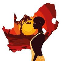 person afro with map of South Africa vector