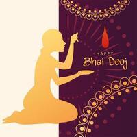 happy bhai dooj with indian woman silhouette with bindi vector design