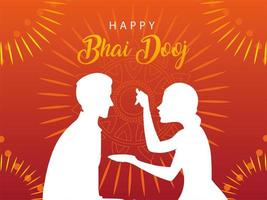 happy bhai dooj with indian woman and man silhouette vector design