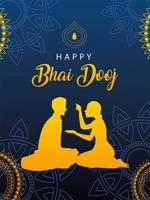 happy bhai dooj with indian woman and man silhouette with mandalas vector design