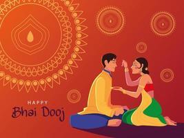happy bhai dooj with indian man and woman cartoon vector design