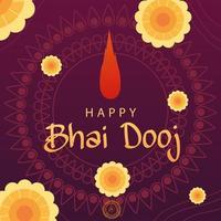 happy bhai dooj with yellow flowers and bindi drop vector design