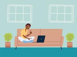 man working remotely from her home vector