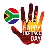 happy heritage day with flag of South Africa vector