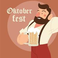oktoberfest man cartoon with traditional cloth and beer vector design