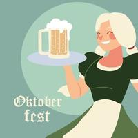 oktoberfest woman cartoon with traditional cloth and beer vector design