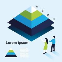 pyramid chart infographic with woman and man vector design