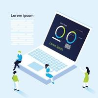 donut charts infographic in laptop with people vector design