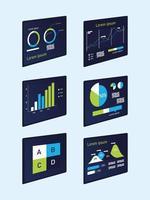 charts infographics icon set vector design