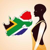 person afro with flag of South Africa in the background vector