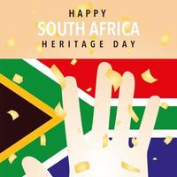 happy South Africa heritage day with flag vector