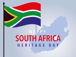happy South African heritage day, flag and map of background vector