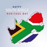 flag and map South Africa, happy South Africa heritage day vector