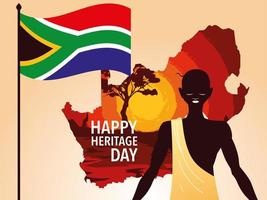 happy heritage day with person afro and flag of South Africa in the background vector