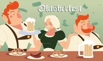 Oktoberfest hombres y mujeres con salchichas de cerveza y pretzels diseño vectorial vector
