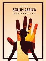 happy South Africa heritage day with person afro, poster vector