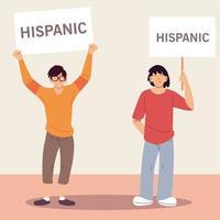 mes nacional de la herencia hispana con dibujos animados de hombres latinos con diseño vectorial de pancartas vector