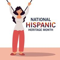 mes nacional de la herencia hispana con diseño vectorial de dibujos animados de mujer latina vector