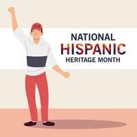 mes nacional de la herencia hispana con dibujos animados de hombre latino con diseño vectorial de sombrero vector