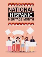 mes nacional de la herencia hispana con hombres y mujeres latinos con diseño vectorial de pancartas vector