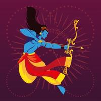 template of the lord Rama with bow and arrow vector