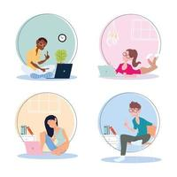 set of icons people working from home, telecommuting vector