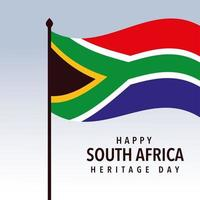 waving flag of South Africa, happy South African heritage day vector