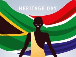 heritage day with person afro and flag of South Africa vector